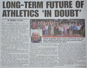 South London Press article on CPSP/GLL indoor/outdoor track stats